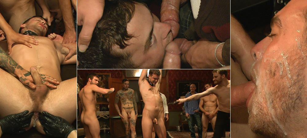 Horny Party Goers Gangbang And Fist A Bound Stud from Bound In Public